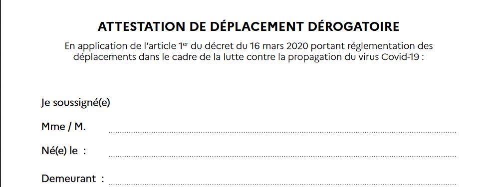 Attestation de déplacement dérogatoire - Covid19